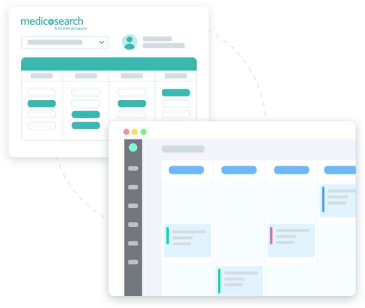 Medicosearch booking widget and agenda